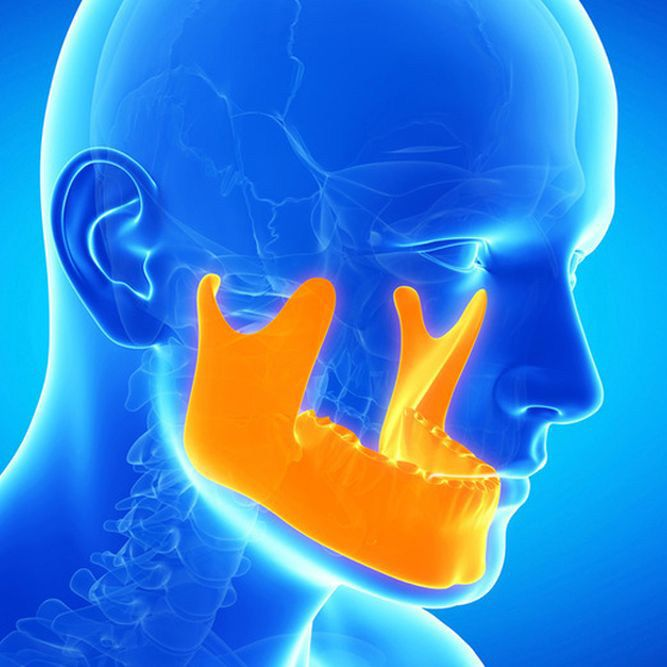 Computer illustration of full head and neck x-ray with mandible highlighted in gold