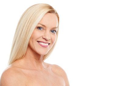 A blonde woman with great skin