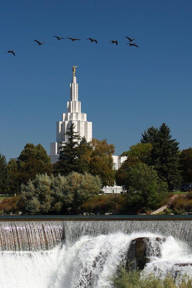 A beautiful white steeple behind waterfalls.