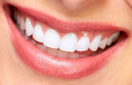 Close-up image of woman's teeth and healthy gums