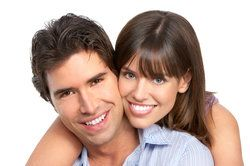 A couple with healthy, attractive smiles