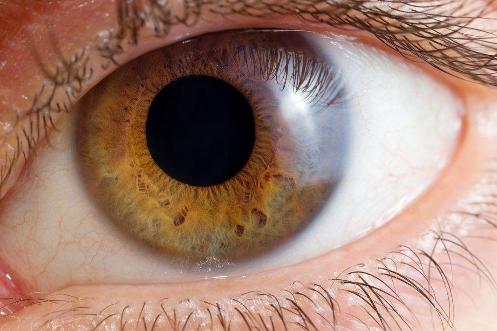 Extreme close up of hazel eye with large pupil