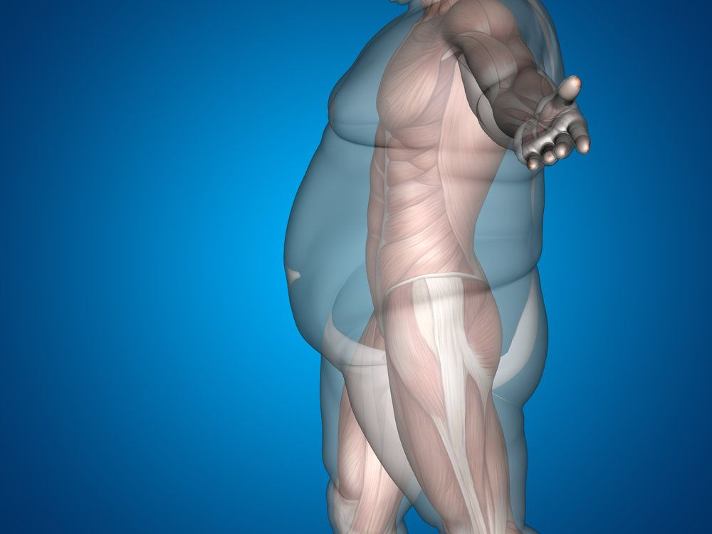 Digital composite profile of an overweight person