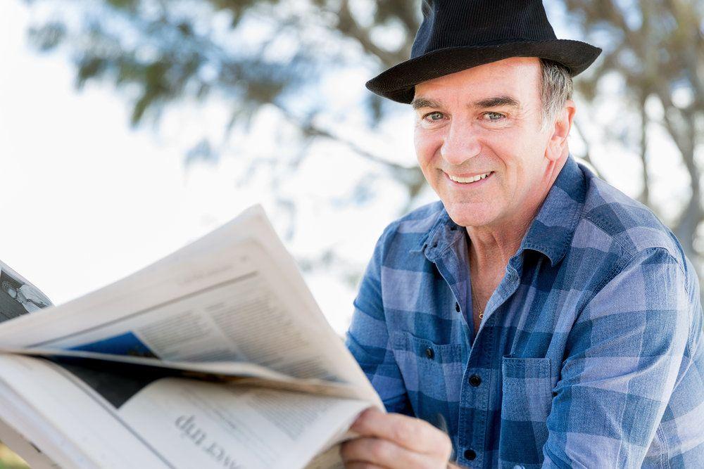 Gentleman reading the newspaper