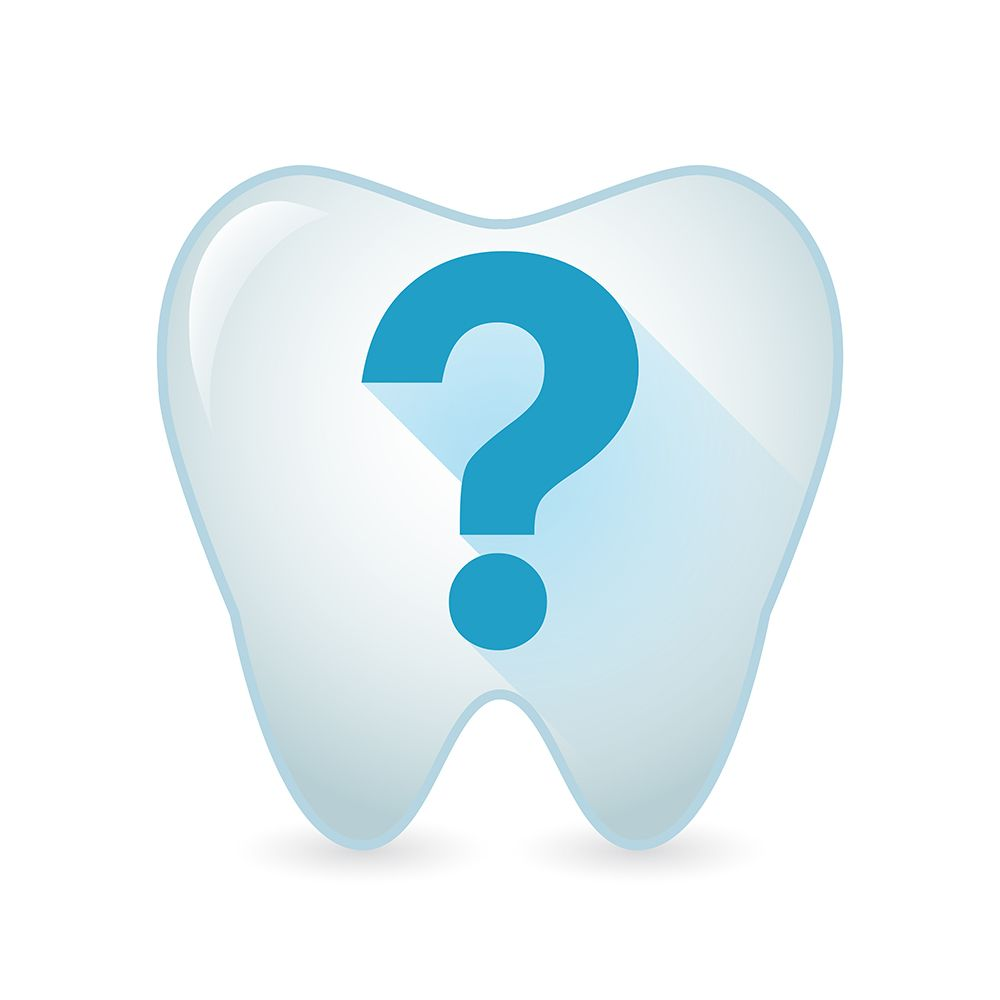 Illustrated tooth with a question mark on it