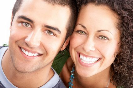 couple with beautiful smiles