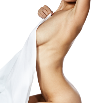 A nude woman with a sheet draped across her chest