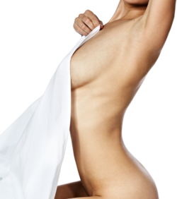 A naked woman with a sheet draped over her chest