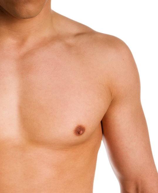 Close-up of a patient's chest, which is flat and smooth after male liposuction