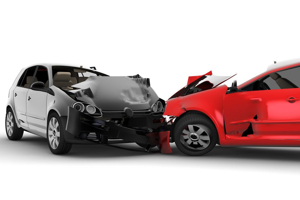 A head-on auto collision