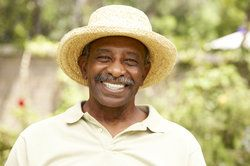 Old gentleman in a straw hat