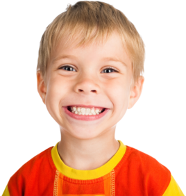 Young boy smiling, blonde with blue eyes