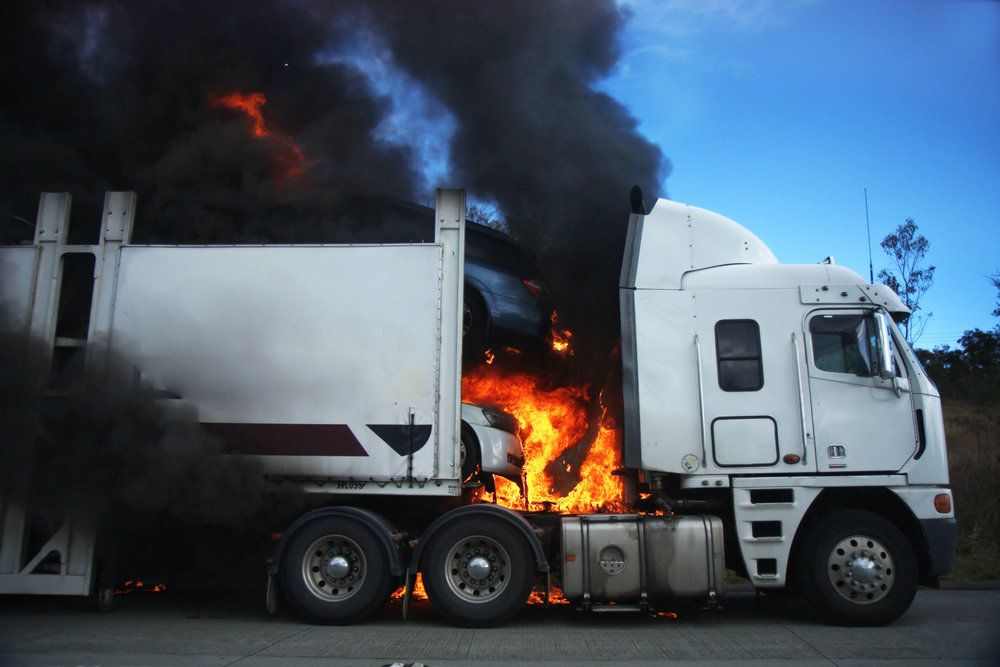 A semi-truck on fire