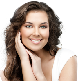 A smiling woman with brunette hair