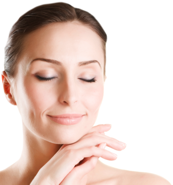 Woman with eyes closed and blissful look on her face