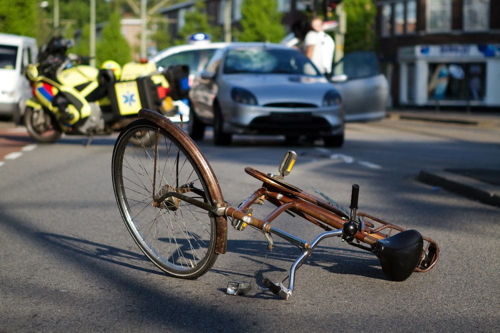 Overturned bicycle in street