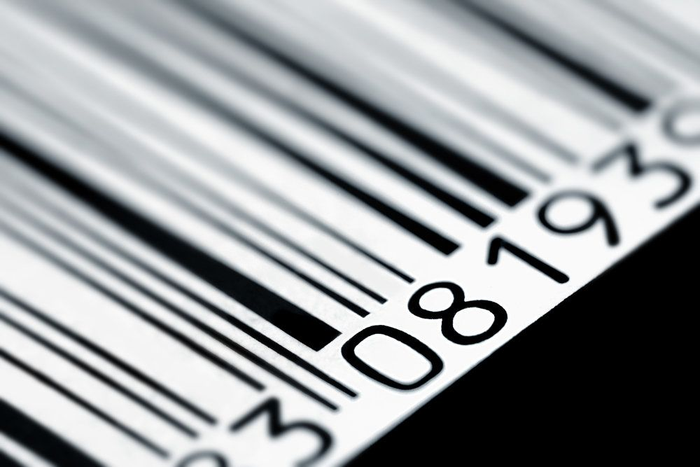 A barcode seen close up