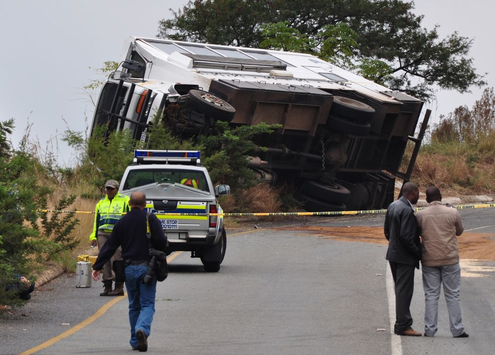 A truck overturned after an accident
