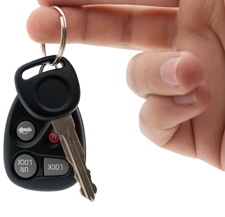 Person holding out their car keys