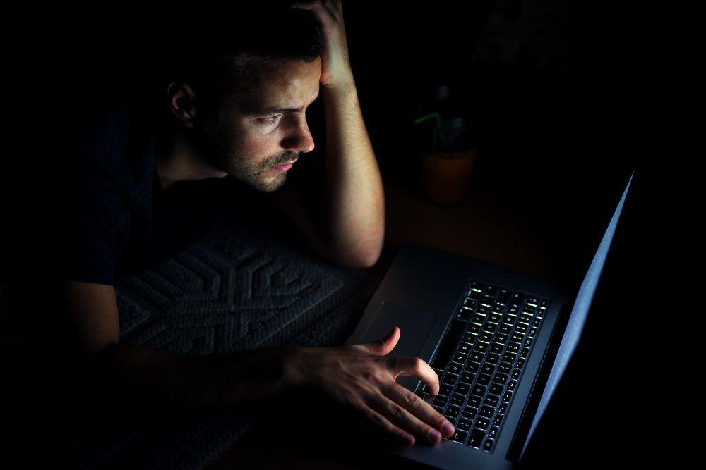Looking at a computer monitor late at night