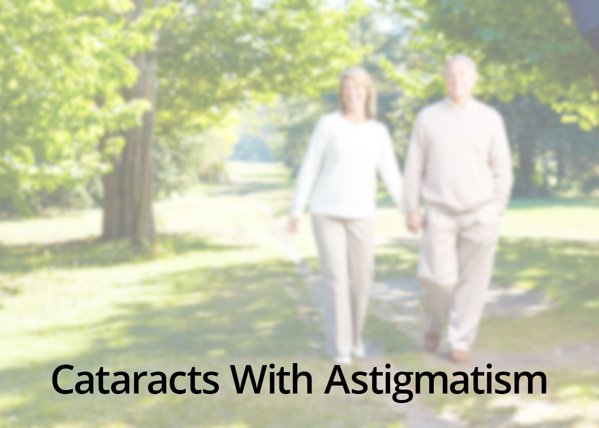 A middle-aged couple seen through blurred lens illustrates cataracts with astigmatism