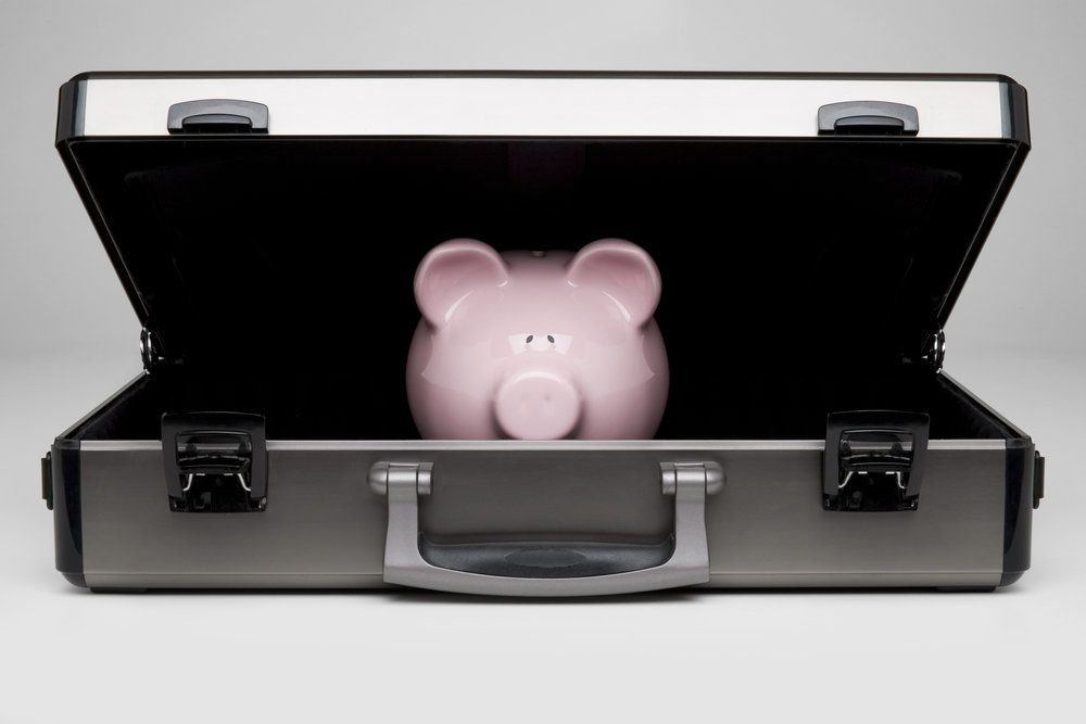 Piggybank in a briefcase