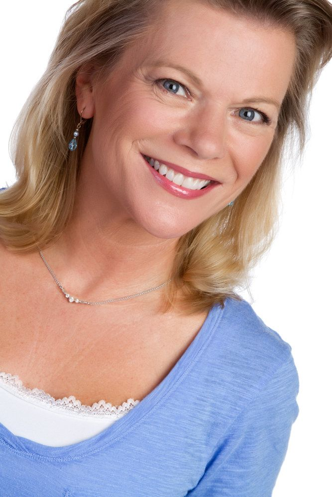 Beautiful smiling blond woman portrait