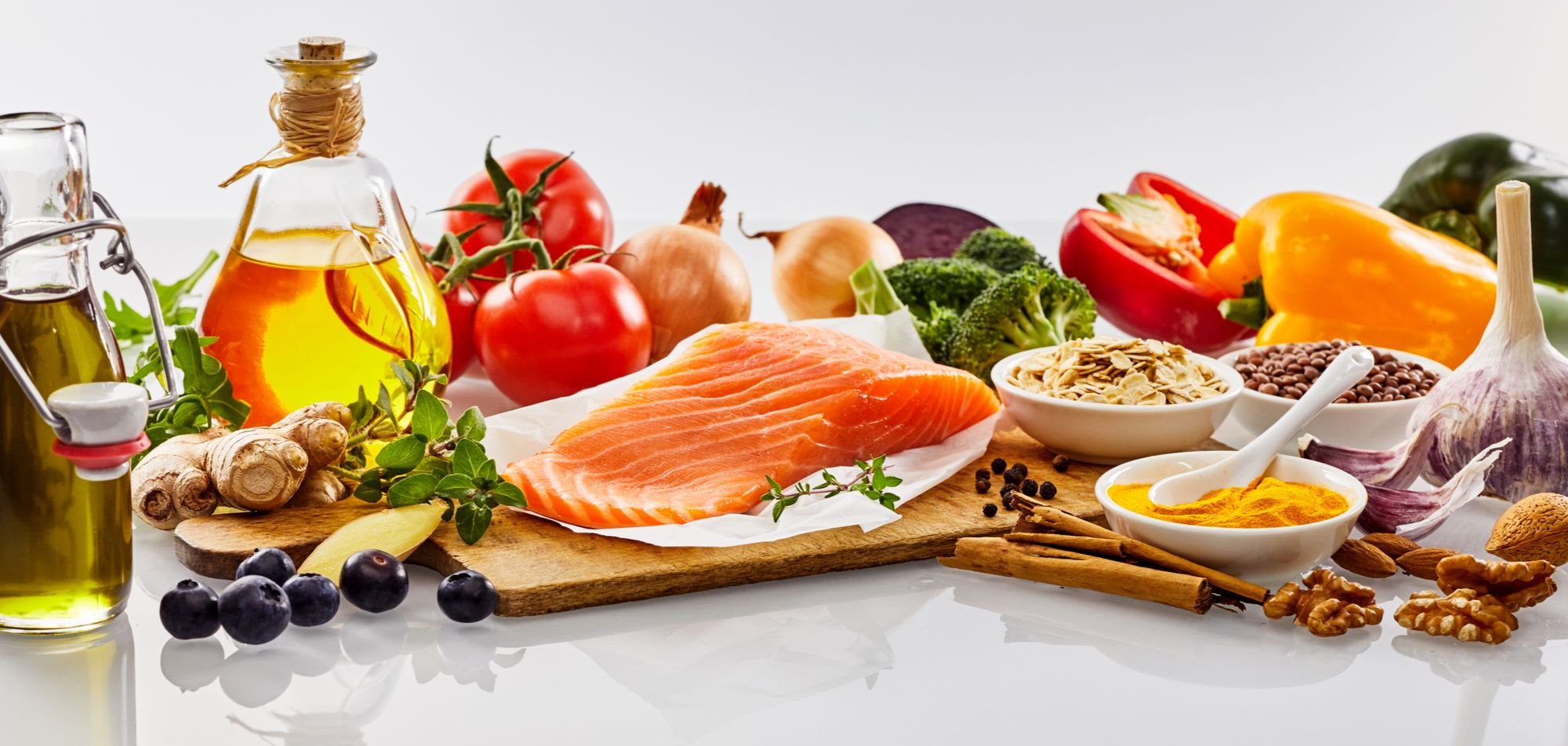 Salmon, vegetables, and other healthy foods