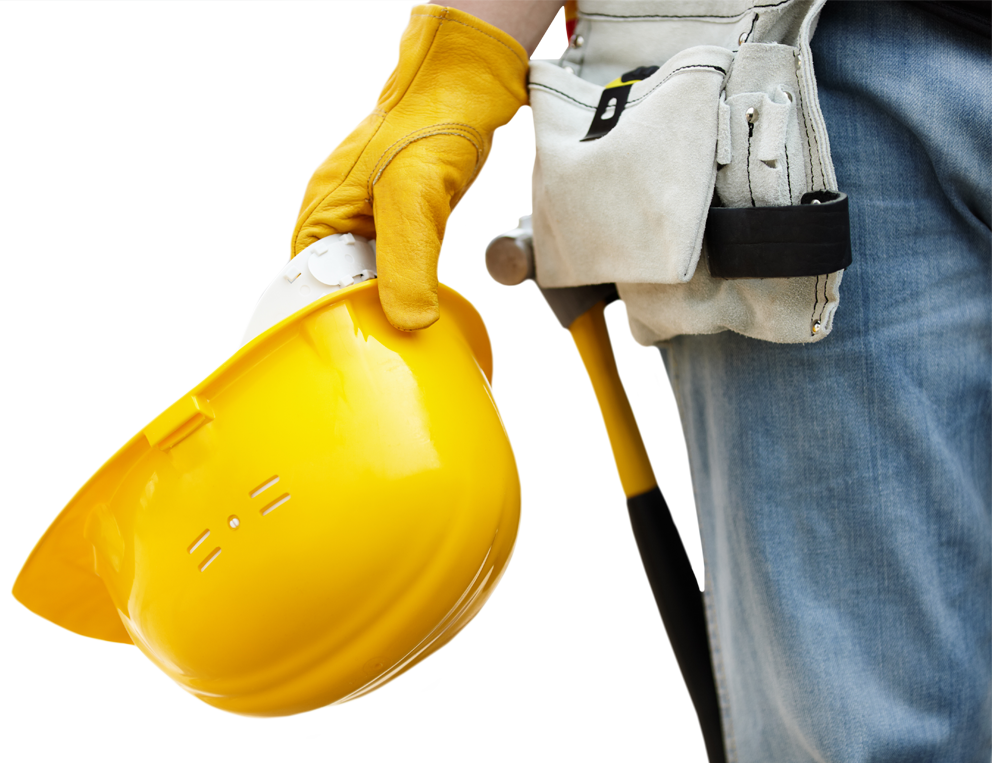 A construction worker holding a hard hat