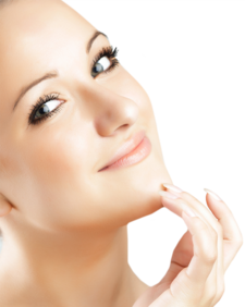 Woman with smooth, bright skin holding shapely chin in hands