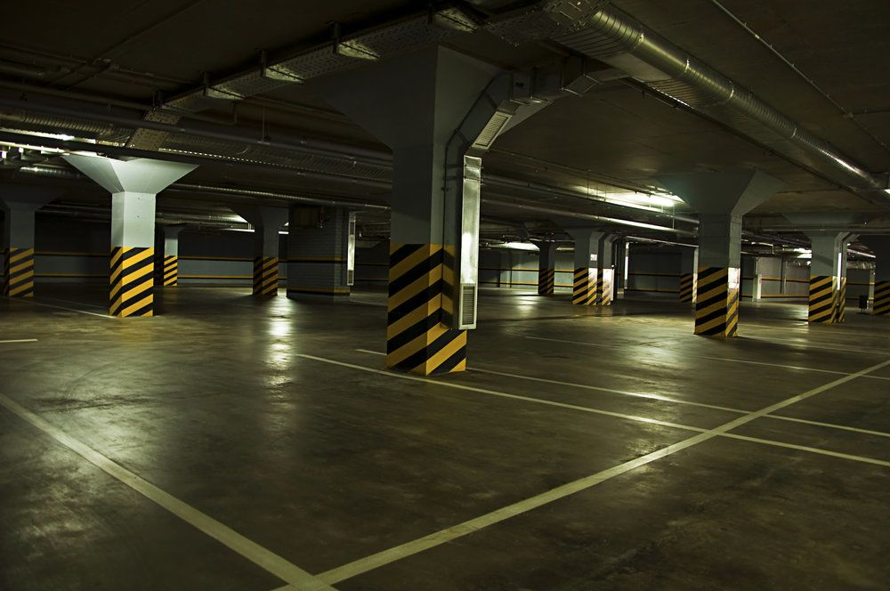 An empty underground parking lot
