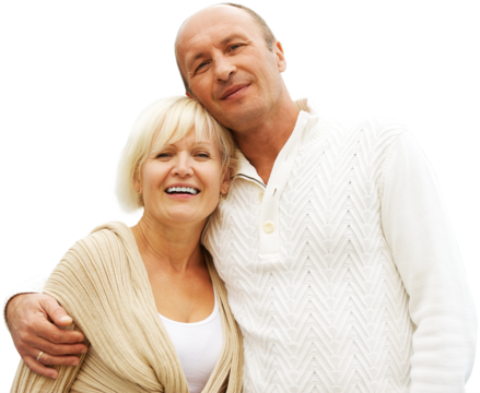 A middle-aged couple wearing earth-tone sweaters.