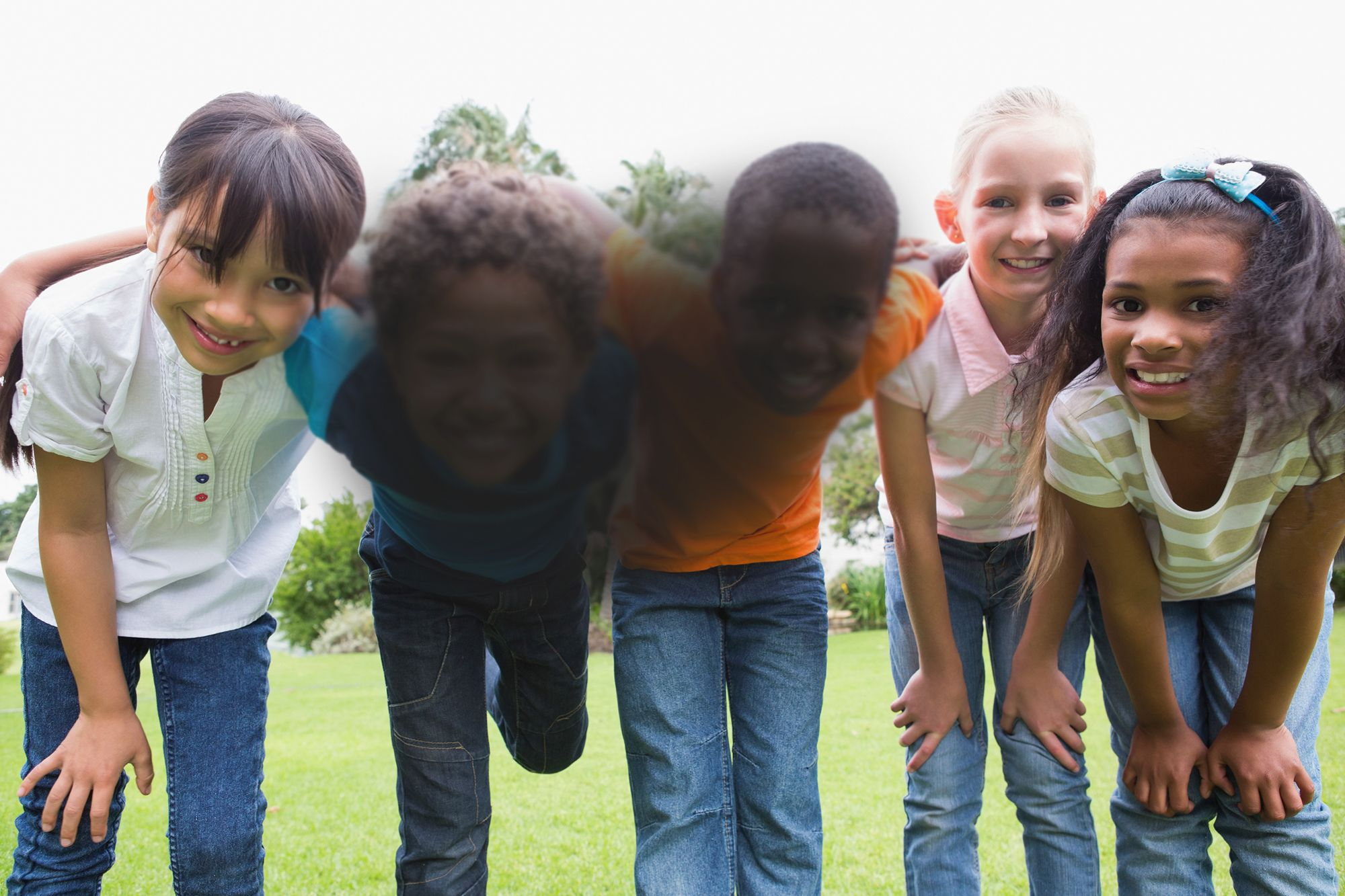 A blurred photo of a group of children.