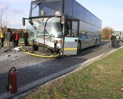 a totaled bus