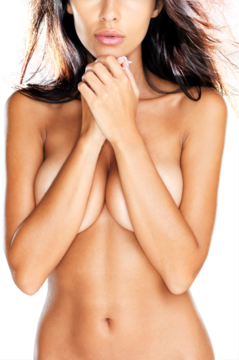 A nude woman with her forearms covering her breasts