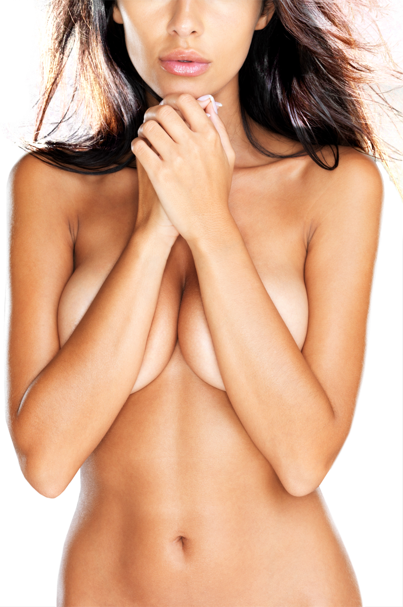 A nude woman with arms covering her breasts