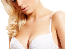 Blond woman in pink lacy bra