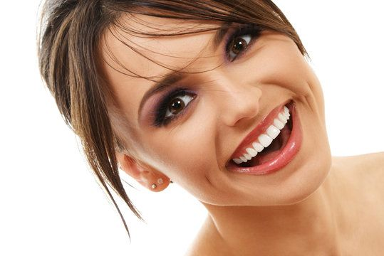 Excited-looking lady with tooth colored fillings