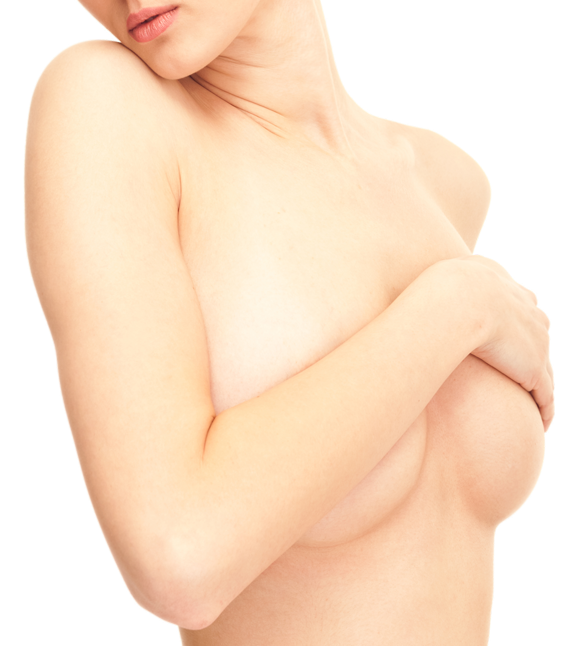 A woman with her hand draped across her naked breasts