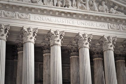 Close-up of the entrance to the US Supreme Court