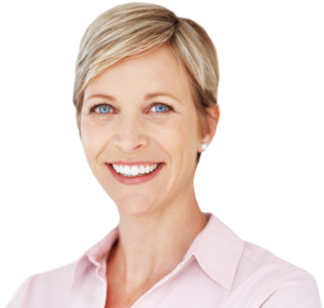 A smiling woman with short, blonde hair