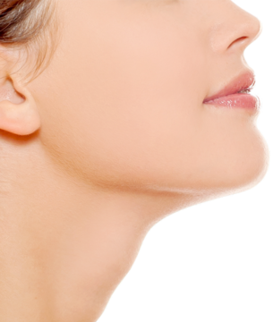 Profile of woman's shapely chin and neck