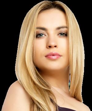Blond woman posing in black bra