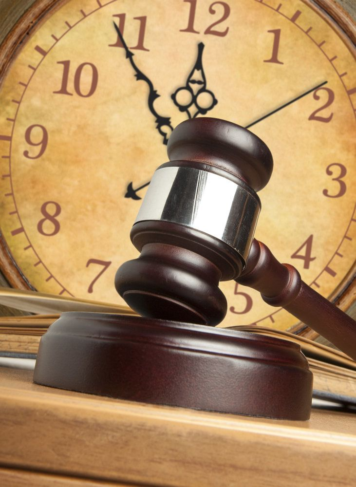 A gavel and a clock