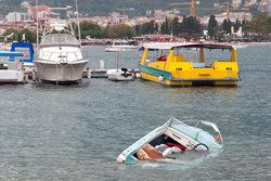 Boat sinking in harbor