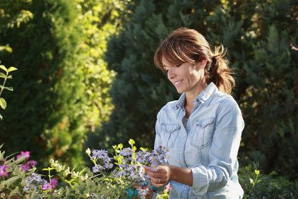 Middle-aged woman gardening
