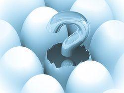 Signo de interrogación eclosionando de un óvulo