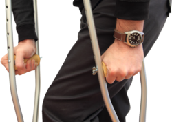 An injury resulting in the use of crutches