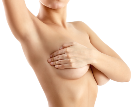 Woman raising arm and cupping naked breast