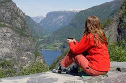 woman enjoying mountain vista